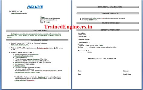 resume format for production engineer fresher resume format for mechanical engineer with 1 year experience resume exle