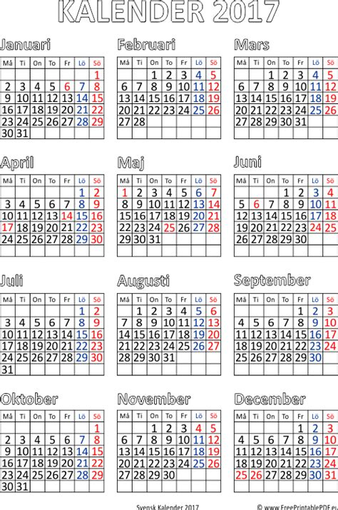 Kalender 2017 Gratis Gratis Utskrivbara Kalender F 246 R 2017 Gratis Utskrivbara Pdf