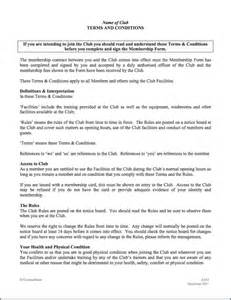 exercise contract template sports health or club membership agreement