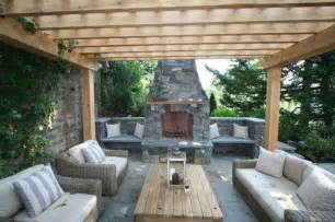 Pergola With Fireplace by Patio With Fireplace And Pergola Architectural Design