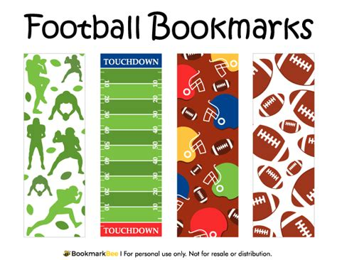 printable baseball bookmarks printable football bookmarks