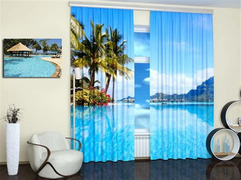 beach themed window curtains nature photography turning window curtains into stylish