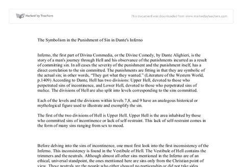 Dante Inferno Essay by Dante Inferno Essays