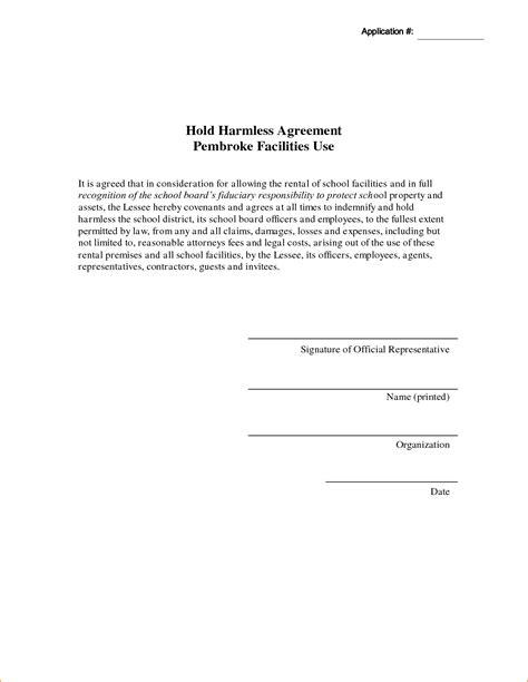 Release And Hold Harmless Letter business agreements hold harmless agreement business plan