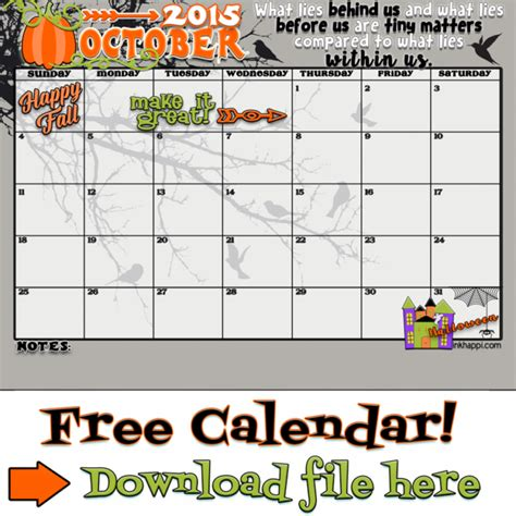 printable monthly calendar for october 2015 october 2015 calendar come and get it inkhappi