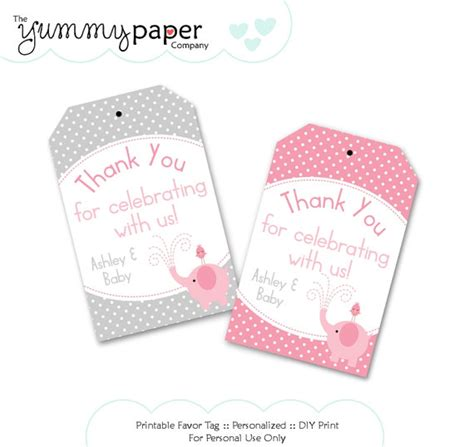 gray and pink elephant party favor tags custom diy by