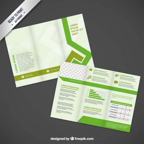 leaflet design ai brochure design in green tones vector free download