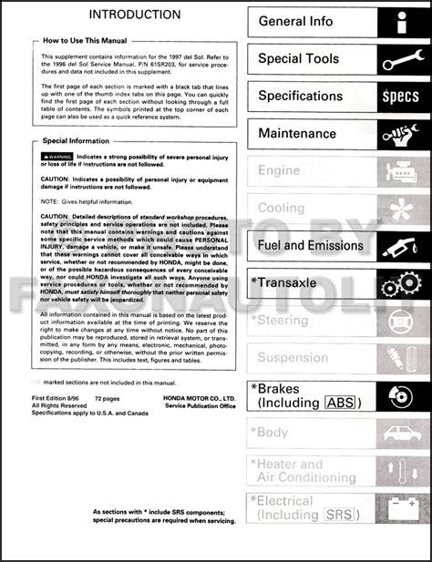 free auto repair manuals 1997 honda civic auto manual 1997 honda civic del sol repair shop manual original