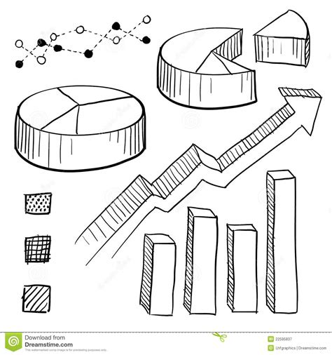 graph sketch graph and chart elements sketch stock vector