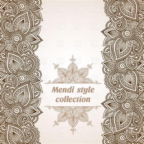 indian pattern frame mendi style floral vertical borders and indian style