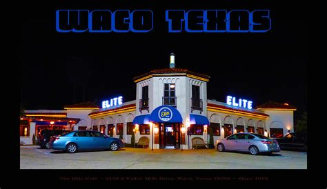 elite cafe waco texas at night poster photograph by