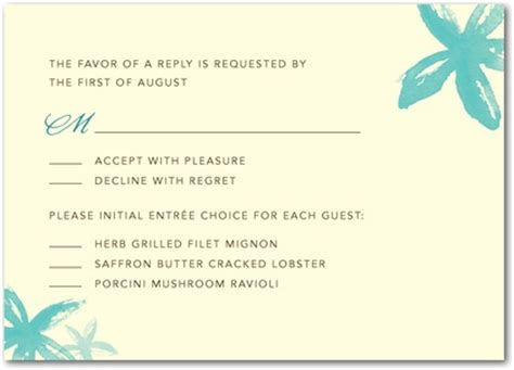 wedding invitations don t forget the entree selection