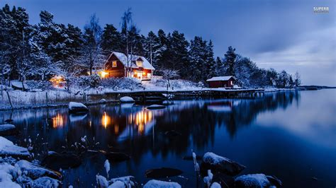 winter cabin lakeside winter cabin wallpaper