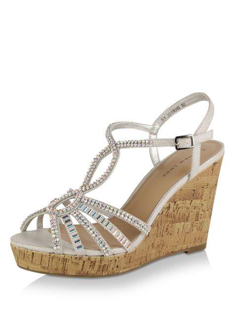 Wedges New buy new look t bar embellished wedges for s silver wedges in india