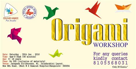 Origami Workshop - origami workshop bel road