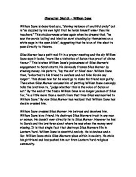 Essay About Character by Character Sketch William Dane Gcse Marked By Teachers