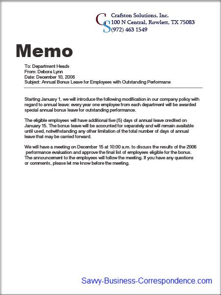 company memo template announcement memo about introducing company policy changes