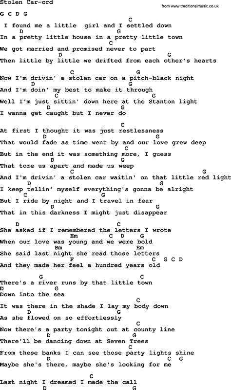 springsteen lyrics bruce springsteen lyrics stolen car autos post