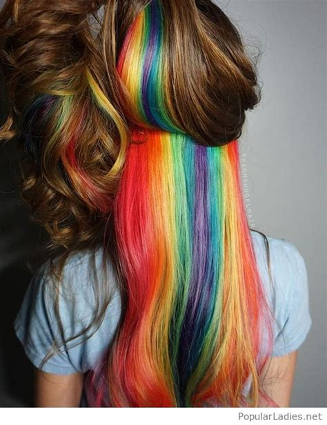 hairstyles with color underneath wonderful rainbow hair colors hidden in brown hair color