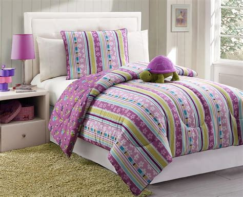 Furry Friends Turtle Stripe Purple Comforter Set Home Turtle Bedding Set