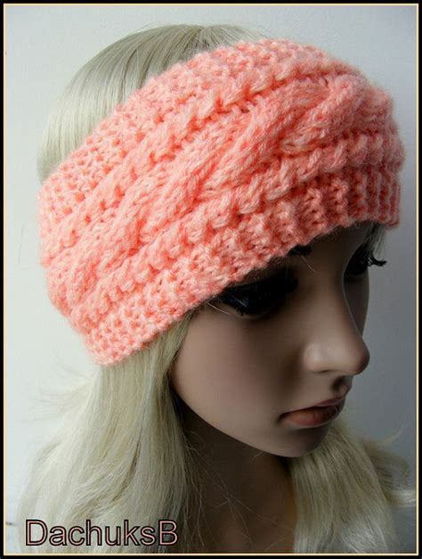 knitting pattern ear warmer headband hand knitted headband ear warmer in peach color cable