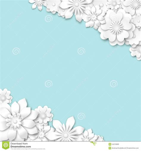 Wedding Background Eps by Abstract Blue Wedding Background With White 3d Flowers