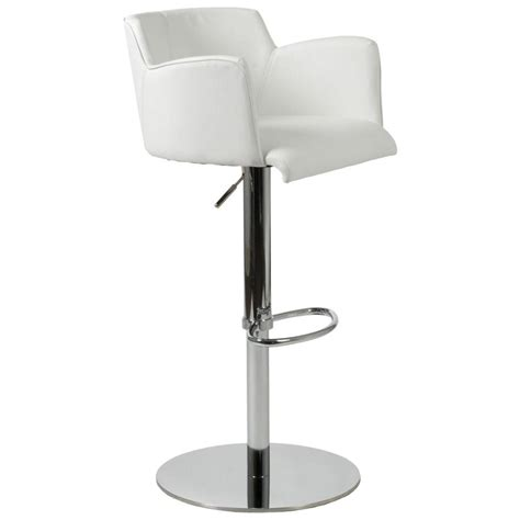 White Bar Stool Chairs Adjustable Bar Counter Stool White Chrome Bar Stools