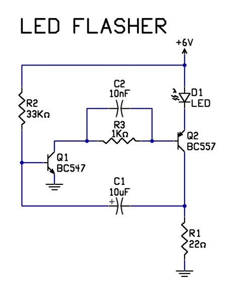 simple 2 transistor led flasher circuit tech stuff