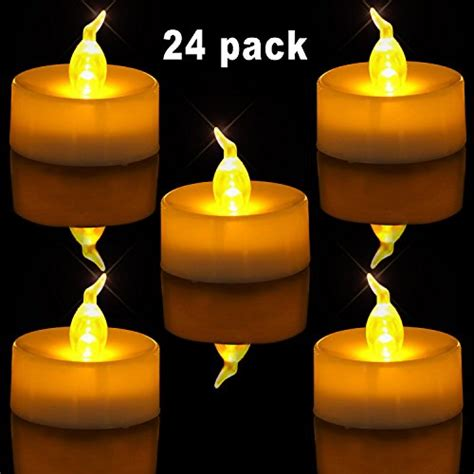 24 48 Pack Flameless Votive Candles Battery Operated Homemory Hmcltlhg24 Homemory Pack Of 24 Flameless Led Tea Light Yellow Flickering Bulb