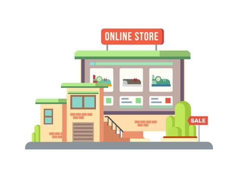 home design online shop online shop building flat illustration