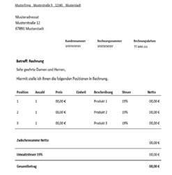 Vorlage Rechnung Deutschland Rechnung F 252 R Freiberufler Vorlage Muster