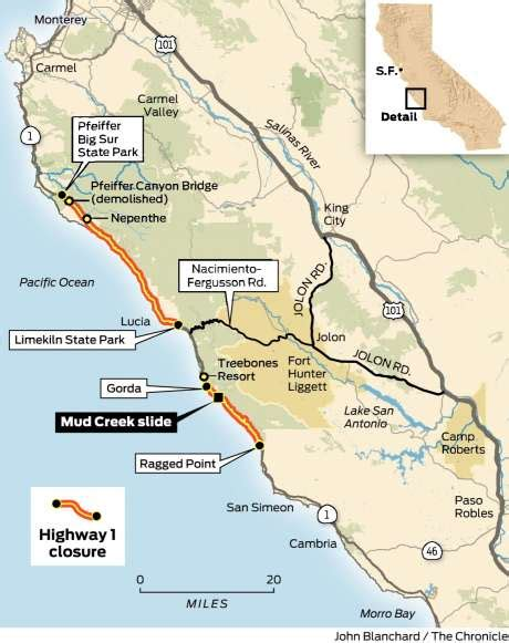 california highway conditions map big sur hwy conditions page 2 bike forums