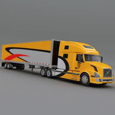 2007 volvo truck models semi truck trailer 3d model