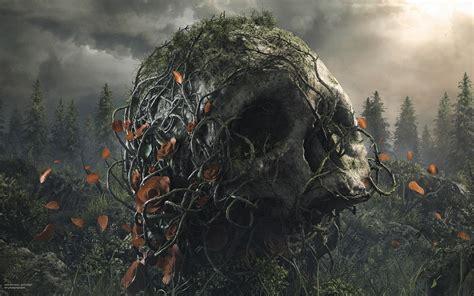 digital art artwork trees plants flowers skull rose