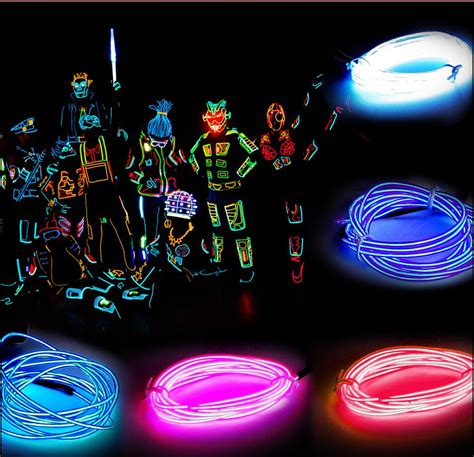 neon light string 1m neon led light glow el wire string rope