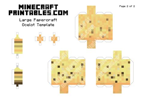 Minecraft Papercraft Free - ocelot printable minecraft ocelot papercraft template