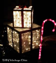 outdoor light up decorations diy vintage chic how to make lighted presents