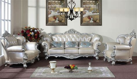 silver living room furniture silver edge rice white genuine leather sofa sets living
