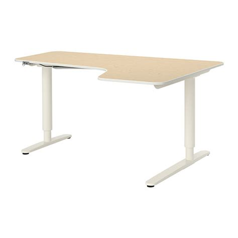 bekant corner desk right sit stand birch veneer white ikea