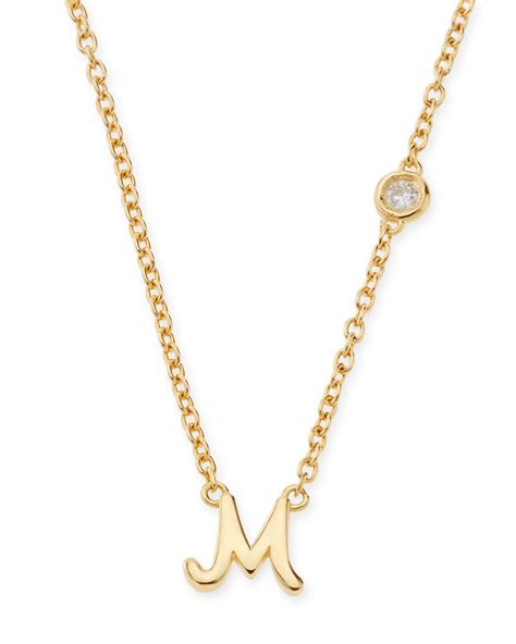 Necklace By by sydney evan m initial pendant necklace with in metallic lyst