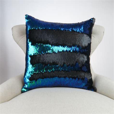 mermaid pillow blue purple green black reversible sequin