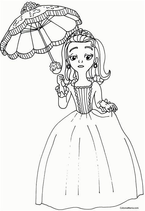 Colorear Princesa Amber Con Su Paraguas La Princesa Sofa Princess Sofia The Coloring Pages