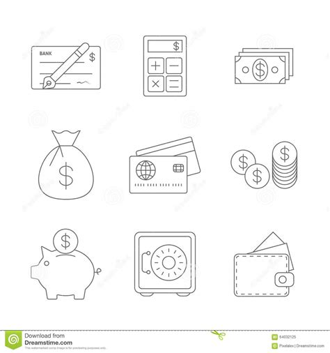 eps format line finance icons line stock photo image 64032125