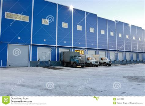 modern warehouse design modern warehouse outside trucks are unloaded at loading