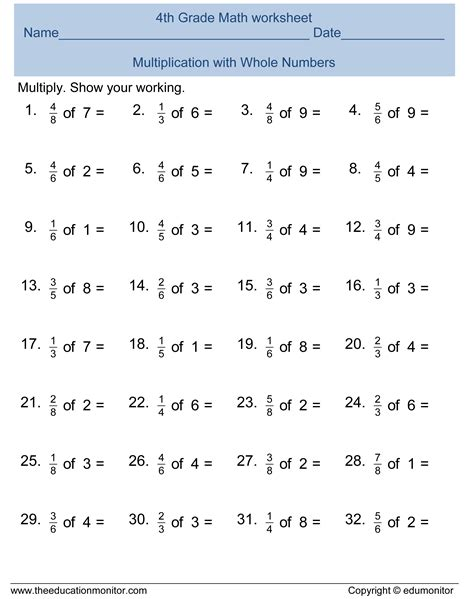 4th Grade Fraction Worksheets by Fourth Grade Worksheets For Your