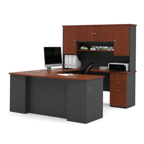office furniture manhattan bestar manhattan 3 u shape office set in bordeaux and graphite 81850 39