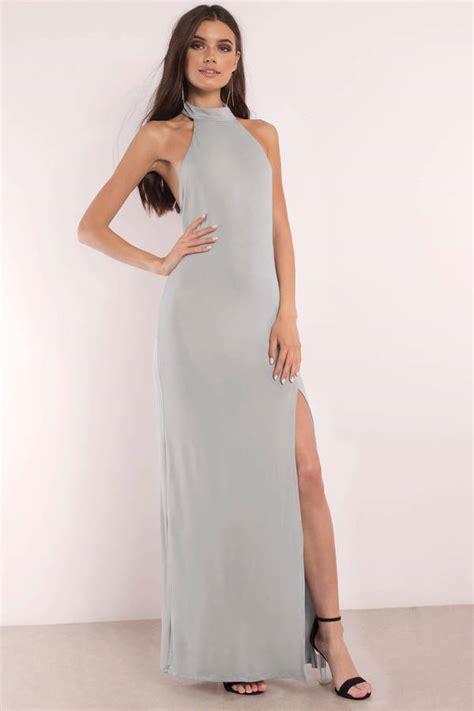Dress Grey grey maxi dress backless dress mock neck dress