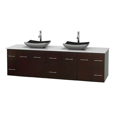 Solid Surface Vanity Sinks by Wyndham Collection Centra 80 In Vanity In Espresso With Solid Surface Vanity Top In