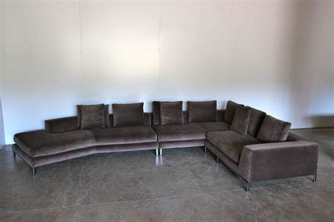 minotti sectional minotti allen sectional l shape sofa in taupe brown