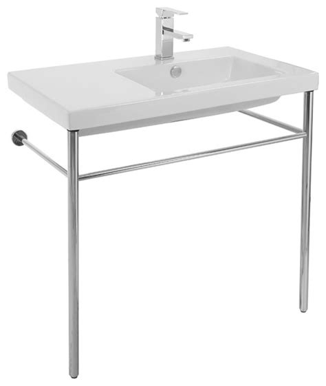 console sink with chrome ceramic console sink with polished chrome stand